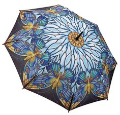 Stained Glass Tiffany Style Butterflies Umbrella