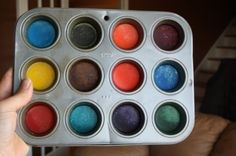 Homemade water colour paints!  Easy to make with a few basic pantry ingredients.  These are outstanding, and they keep indefinitely!  My daycare kids love them, and I've had rave reviews from everyone who's made them.  - happy hooligans