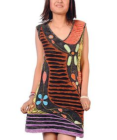 Take a look at this Black & Brown Patchwork Dress by Rising International Women on @zulily today!