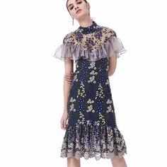 32253a45a16 Graceful Embroidered Flounced Gauze Dress