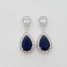 Blue Earrings Wedding Jewelry Something Blue by poetryjewelry