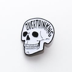 The original real overthinking pin. If its not from prettybadco it isn't legit. Always overthinking. soft enamel pin new and improved black dye metal with glow in the dark white + epoxy coat