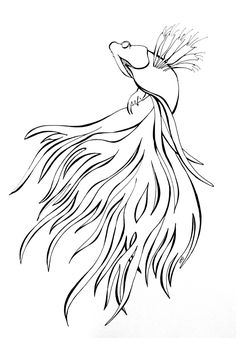 """""""Fighter"""" doodle art sharpie art drawing beta fish by Heidi Denney"""