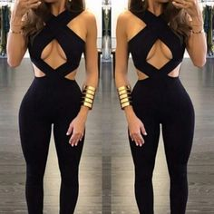 Sexy Women Bandage Jumpsuit Hollow Out Backless Night Club Wear Solid Jumpsuit 2018 Rompers Overalls Female Body Lady Jumpsuits - Club Dresses Fashion Womens Fashion Online, Latest Fashion For Women, Ladies Fashion, Club Outfits For Women, Clothes For Women, Tight Dresses, Sexy Dresses, Midi Dresses, Ball Dresses