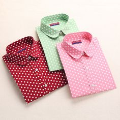 Red Polka Dot Camicie Donne Camicette di Cotone Delle Signore Lunghe Del Manicotto top colletto della camicia femminile più il formato 5xl blusas clothing per donne