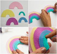 to make felt rainbow baby nursery mobilehow to make felt rainbow baby nursery mobile templates: Tea Light Holder ? ARTE COM QUIANE - Paps e Moldes de Artesanato : Molde Arco-íris de feltro 🌈 e Gabarito para olhos de nuvem Baby Crafts, Felt Crafts, Crafts For Kids, Diy Unicorn, Unicorn Party, Cool Baby, Fantastic Baby, Baby Hair Bands, Felt Mobile