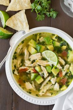 Chicken Avocado Lime Soup by cookingclassy #Soup #Chicken #Avocado #Lime