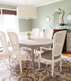 French Provincial dining set table chairs armchairs and china