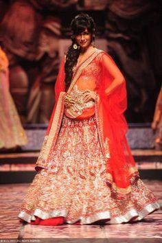 Bollywood actress Chitrangada Singh walks the ramp for designer Suneet Varma on Day 5 of the India Bridal Fashion Week (IBFW) 2013.