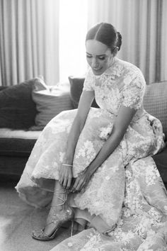 Louise Roe's wedding look is totally chic and sophisticated   Image by Amy Fanton Photography