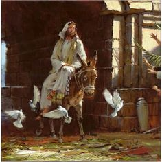 The KING comes, in peace, riding on a donkey ... on the day the perfect chosen lamb was brought to the Temple for the Passover Sacrifice ... Hosanna! WORTHY IS THE LAMB !