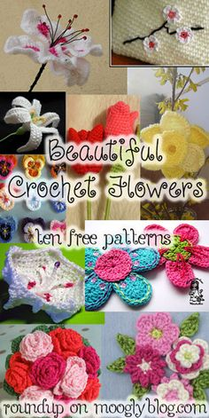 Beautiful Free Crochet Flower Patterns - time to think spring! It always makes me feel better to crochet flowers when i am feeling down. Appliques Au Crochet, Crochet Motifs, Crochet Flower Patterns, Crochet Ideas, Knitted Flowers, Fabric Flowers, Diy Fleur, Crochet Embellishments, Crochet Gratis