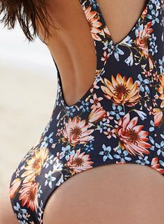 8ebbcd28ada Deep Plunging Lace up Floral Print Swimsuit - OASAP.com Swimsuits 2017
