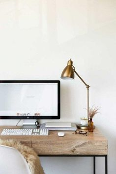 desk / home office decor / interior design / wood desk / iMac / white walls Home Office Space, Home Office Design, Home Office Decor, Home Decor, Desk Space, Office Ideas, Office Workspace, Office Furniture, Office Table