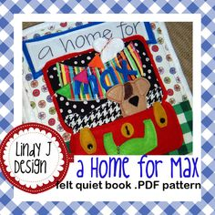 "I'm excited to share the PRINTABLE PDF PATTERN for my newest quiet book! And its now available as an instant download! It features Max, a cute little puppy, who is searching for his ""home sweet home.""  Your little one will have fun pulling various animals (on elastic) from their homes. None of the homes are quite right for Max until the very last one…a cute dog house (pocket)- the perfect fit for a little puppy. This book is adorably interactive and your child will want to hear the poem and…"