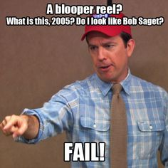 The Office Blooper reels are the best! Office Bloopers, Andy Bernard, Office Jokes, Love Puns, Dunder Mifflin, Ron Swanson, Hilarious, Funny, The Good Old Days