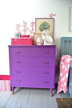 Painted Vintage Dresser. Love the color.