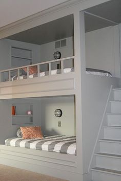Great idea for kids room bunk beds - I love the idea of stairs instead of a ladder (but since stairs are governed by building codes, would it be legal?)