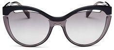 $360 Miu Miu Cat Eye Sunglasses, 57mm.  Available Colors: Black/Transparent Gray/Gray Gradient #sunglasses #style #glasses #womensfashion #frames #affiliatelink #mystyle