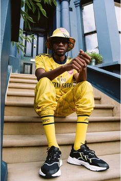 "adidas & Arsenal Customize ""Bruised Banana"" Kit for Notting Hill Carnival Football Casuals, Football Fashion, Jersey Outfit, Jersey Shirt, Jogging, Nike Campaign, Ian Wright, Notting Hill Carnival, Classic Football Shirts"