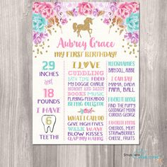 Unicorn First 1st Birthday Board Chalkboard by StyleswithCharm