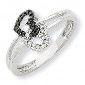 14K White Gold Black & White Diamond Heart Promise Ring