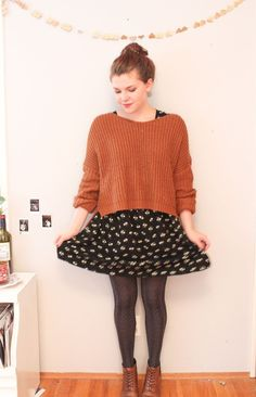 Sweater over dress! Cute And Cheap Fall Outfits Ideas Indie Outfits, Style Outfits, Pretty Outfits, Cute Outfits, Fashion Outfits, Indie Clothes, Pretty Clothes, Fashion Pants, Cheap Fall Outfits