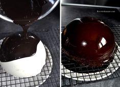 Dôme bavarois Poire Mascarpone - glaçage miroir chocolat