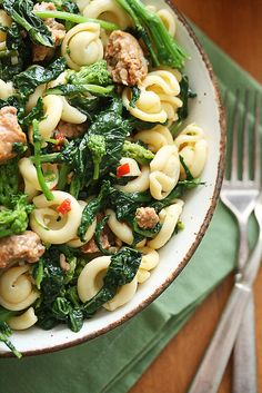 Quick and Healthy Spicy Pasta with Sausage and Rapini by crumbblog: Quick, healthy and tasty.