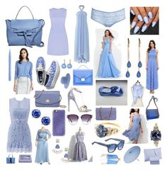 """Color Scheme: Periwinkle"" by andyarana ❤ liked on Polyvore featuring Annabel Ingall, Karina Grimaldi, Stila, Banana Republic, Diane Von Furstenberg, Keds, Badgley Mischka, Vince Camuto, Morgan Lane and Rachel Allan"