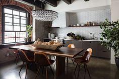 2014 kitchen trends...open top shelves, backsplash full wall, natural woods, warm metal fixtures, sconce lighting.