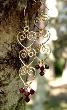 Handmade Gemstone Earrings: Beaded Wire Wrap Silver/14K Golden Pearl, Crystal…