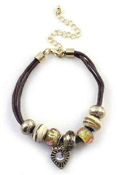 Ethnic String Bracelet with Rhinestone Pendant [FWBJ00238]- US$ 4.99 - PersunMall.com