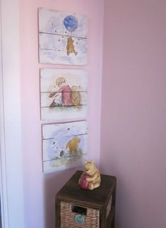 These signs measure approximately 12 x 12. They are crafted out of reclaimed pallet wood and painted white. What a great, classic storybook