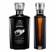 """""""This limited edition has been collaborated with IMPERIAL, the representative premium whisky of Korea, and Hyun-Sei Lee the great master of popular arts especially with his cartoon works. It has been coated black on the front and transparently coated on its sideways to indicate the capacity of each whisky bottle."""""""