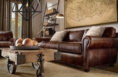 Colors...Brown leather sofa;light fiber rug