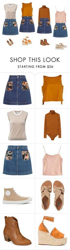 """Denim Patch Pocket Tapestry Skirt"" by manonth on Polyvore featuring mode, STELLA McCARTNEY, Fendi, Chanel, MANGO, Alice + Olivia, Chloé, Billabong en Style & Co."