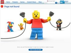 I love Lego's error page features several frustrated and/or embarrassed Lego figurines. Very appropriate for the site and it almost makes you wish for an error to see which Lego character will be featured! Page 404, 404 Pages, Layout Design, Page Design, Design Web, Design Graphique, Art Graphique, Wireframe, Internet