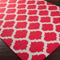 Frontier Moroccan Crimson Hand Woven Wool Rug via @Zinc_Door #zincdoor #colorcrave #redandwhite