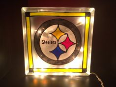 Steelers stained glass block with white lights
