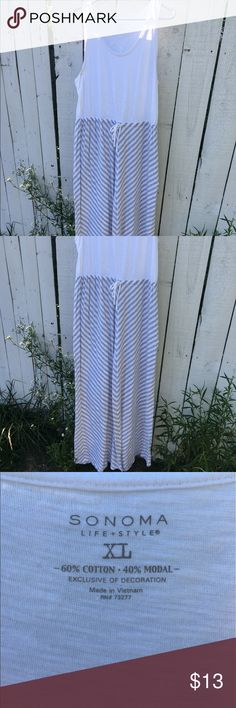 Grey and white stripe maxi dress Maxi dress with draw string. Grey and white striped. Sonoma Dresses Maxi