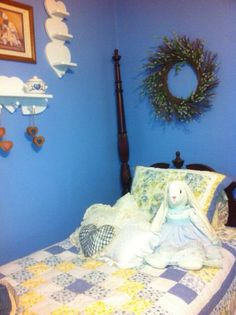 Country blue guest bedroom very warm and cozy at my sisters house