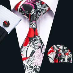 SN-1251 New Hot Floral Prints Mens Tie Hanky Cufflinks Black&Red Silk Neckties