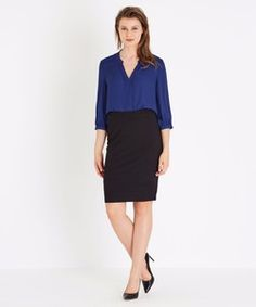 SEAMED PONTE SKIRT