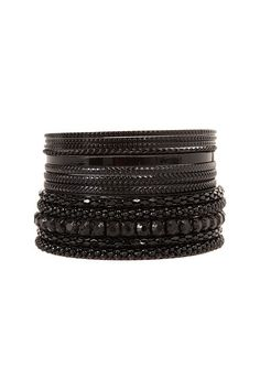 WARNING: Black Metallic Rhinestone Bangle 11 Pack | from Torrid: WARNING: Do not buy them. The first time I wore them the rhinestones were falling out and the paint bleeds onto your skin when wet from presperation of when you wash your hands.