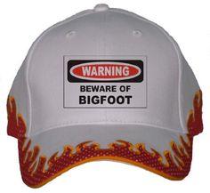BEWARE OF THE BIGFOOT Orange Flame Hat / Baseball Cap