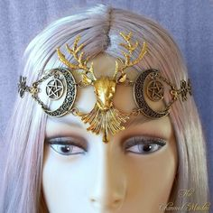 Gold and Bronze Stag Circlet, Stag Headdress, Moon and Pentagram Headpiece, Pagan Headdress, Wiccan Headpiece, Druid Headdress, Ritual Crown