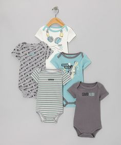 Take a look at this Light Blue & Gray Music Branded Bodysuit Set by Calvin Klein Underwear on #zulily today!