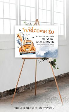 Halloween Drive By Baby Shower Sign Printable Drive By Baby   Etsy Baby Shower Welcome Sign, Baby Shower Thank You, Baby Shower Signs, Free Wedding Templates, Watercolor Artwork, Wedding Announcements, Wedding Cards, Printable, Halloween
