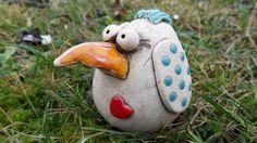 Keramikvogel Anika mit Herz